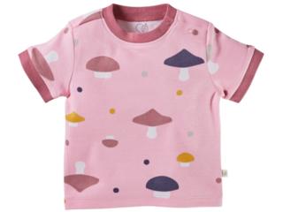Baby T-Shirt Bio-Baumwolle Pilzparty rosa
