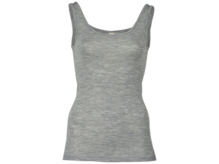 Damen Unterhemd 70% Schurwolle (kbT), 30% Seide hellgrau-melange