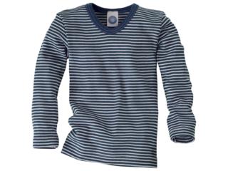 Kinder Unterhemd Langarm blau-geringelt