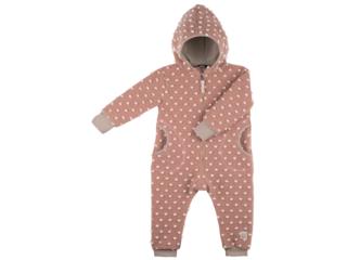 Baby und Kinder Overall mit Kapuze Bio Wollwalk rose Punkte