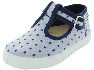 Kinder Schuhe Ballerinas mit Riemchen und Druckknopf navy Stern
