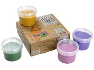 """Fingerfarben 4er Set """"Luka"""" gelb, grün, pink, violett"""