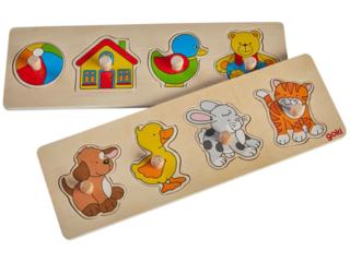 Steckpuzzle Spielzeug und Tiere aus Holz 2er Set