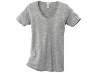 Damen-Unterhemd Kurzarm hellgrau-melange