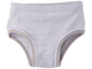 Mädchen Slip Bio-Baumwolle grau-weiß gestreift
