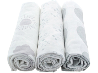 Spucktücher Bio-Baumwolle 3er-Set Grey