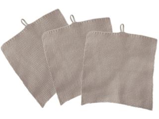 Stricklappen Bio-Baumwolle 3er-Set steel grey