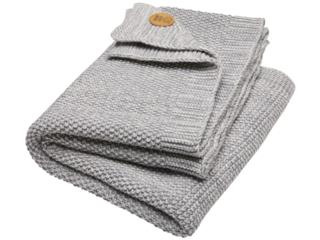 Babydecke Bio-Baumwolle Strick Qualität light grey natur