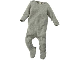 Baby Strampler mit Fuß Bio-Merinowolle (kbT) Seide melange-grau