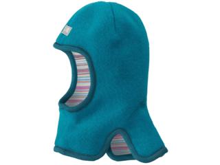 Baby und Kinder Schlupfmütze zum Wenden Wollfleece türkis
