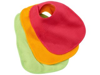 Lätzchen mit Klettverschluss 3er-Set apfelgrün-orange-pink