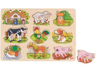 Steckpuzzle aus Holz mit Tierstimmen Bauernhof 8-teilig
