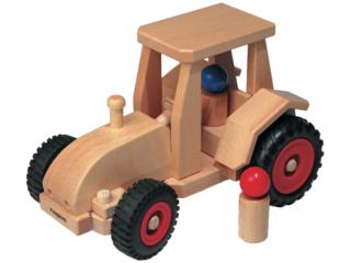Großer lenkbarer HolzTraktor aus Buche