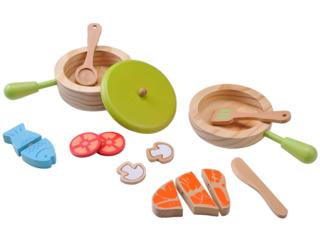 Topf- und Pfannenset für die Kinderküche aus Holz 15-teilig