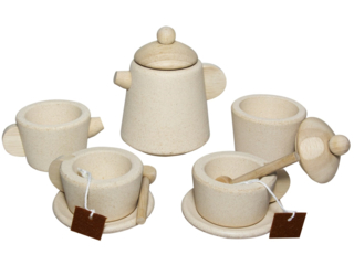 Tee-Set für die Kinderküche aus Kautschukholz