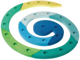 Geburtstagsspirale aus Lindenholz  8-teilig, blaugrün lasiert