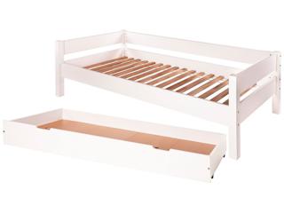 """Einzelbett """"Leon"""" mit Bettkasten, Buche massiv, weiß lackiert"""