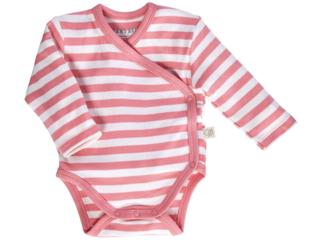 Baby Wickelbody Langarm Bio Baumwolle rosa-off white
