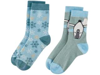 "Kinder Socken ""Bear"" 2er Pack petrol-light blue"