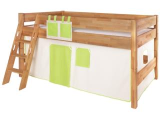 Spielvorhang für Spiel- und Hochbett, 3-teilig, grün-weiß
