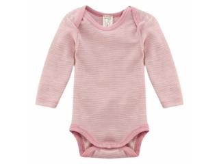 Baby Body Langarm Wolle Seide rose geringelt