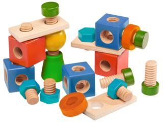 Motorikspielzeug Schrauben und Muttern aus Holz, bunt lackiert