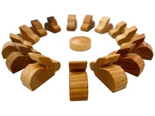 Osterdeko Hasen, Holzfiguren aus Massivholz, 16-teilig