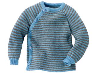 Babyjacke Schlüttli Schurwolle (kbT) hellblau-geringelt
