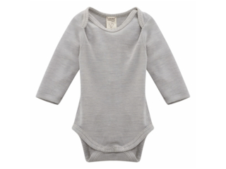 Baby Body Langarm Wolle Seide grau-melange