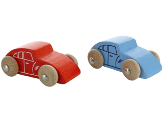 Spielzeugautos aus Buchenholz, 2er Set