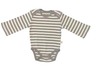 Baby Langarmbody 2. Wahl Bio-Baumwolle grau-off white