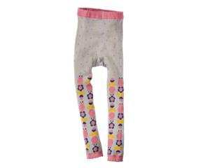 Kinder Leggings Blume grau-rosa