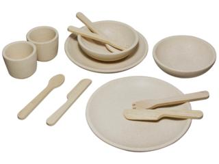 Geschirr Set für die Kinderküche aus Kautschukholz