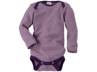 Baby Body Langarm Baumwolle-Wolle-Seide rosa-pflaume-geringelt