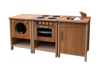 Kinderküche Set, Spüle, Herd, Waschmaschine, massives Erlenholz, geölt