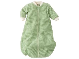 Schlafsack Baby, Schurwolle (kbT), grün-geringelt