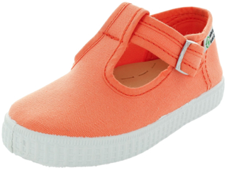 Kinder Schuhe Ballerinas mit Riemchen und Druckknopf orange