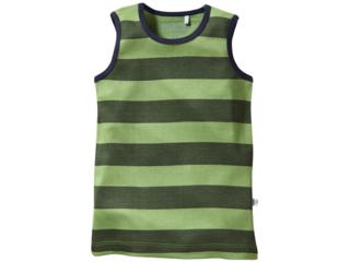 Kinder Unterhemd Bio-Baumwolle Blockstreifen grün