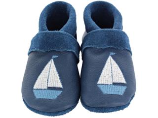 Baby und Kinder Hausschuhe Krabbelschuhe Ecopell Leder Schiff marine