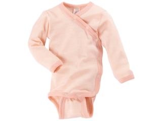 Baby Wickelbody Langarm natur lachs-geringelt