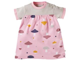 Baby Kleid Kurzarm Bio-Baumwolle Pilzparty rosa