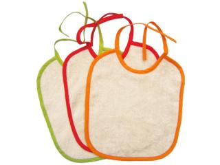 Lätzchen mit Bindebändern 3er-Set natur-grün-orange