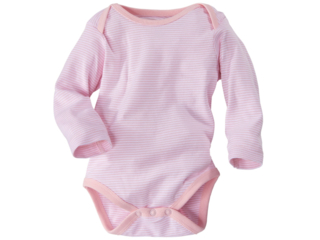 Baby Langarmbody Bio-Baumwolle rose-weiß gestreift