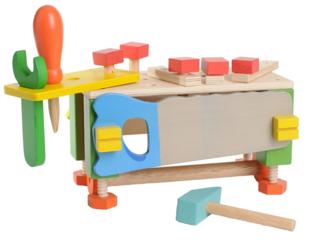 Werkzeugkasten Werkbank für Kinder aus Holz 25-teilig