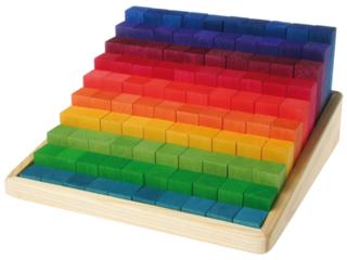 Stufenzählstäbe aus Lindenholz, 101-teilig, bunt lasiert