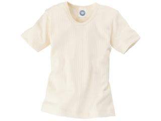 Kinder Unterhemd Kurzarm Baumwolle-Wolle-Seide natur