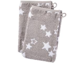 Waschhandschuh Bio-Baumwolle 2er Set Sternchen grau