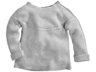 Kinder Pullover Bio-Baumwolle Strick hellgrau melange