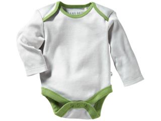 Baby Langarmbody Bio-Baumwolle grau