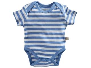 Baby Body Kurzarm Bio Baumwolle blau-off white